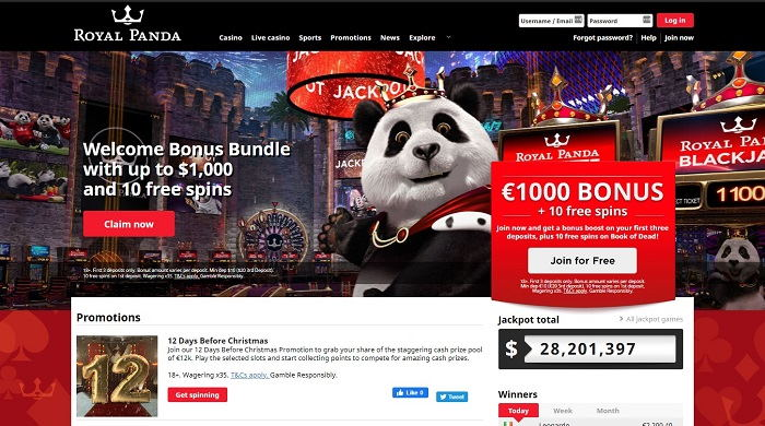 Royal Panda Casino Bonus Section