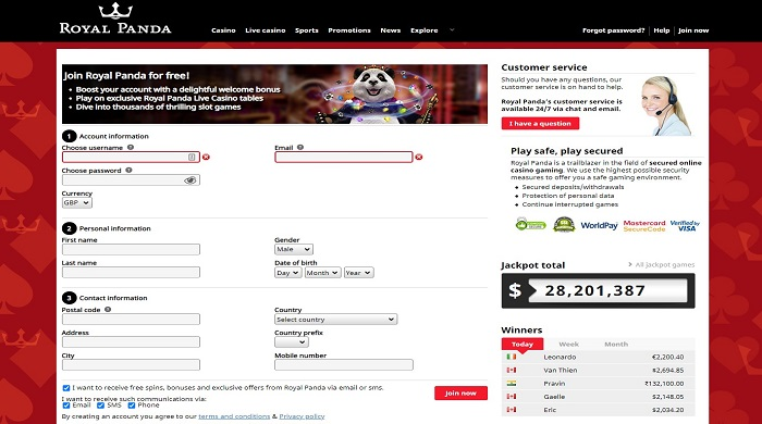 Royal Panda Casino Registration Process