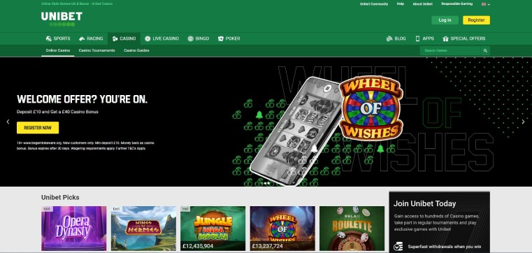 Main page of Unibet Casino
