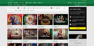 Section tables and cards at Unibet offers variety of live games