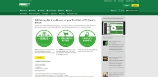 Welcome bonus page at Unibet